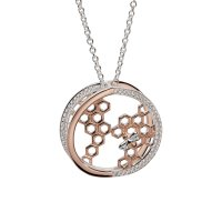 Unique - 3D, Cubic Zirconia Set, Sterling Silver - Rose Gold Plated - Honey Bee Necklace