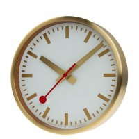 Mondaine - Yellow Gold Plated - Stainless Steel - Wall Clock, Size 25cm