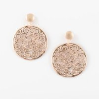 Virtue - Sterling Silver with Rose Gold Plating Swirl Drops Earrings