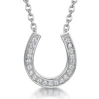 Jools - Cubic Zirconia Set, Silver Fixed Chain Horseshoe Necklace