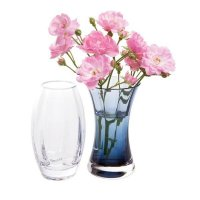 Dartington - Adam and Eve Vase, Clear and Ink Blue