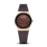Bering - Swarovski Crystal Set, Stainless Steel - Rose Gold Plated - Ladies Rose Gold and Mother of pearl face Watch