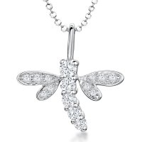 Jools - Cubic Zirconia Set, Silver Dragonfly Necklace