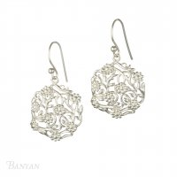 Banyan - Sterling Silver Flowering Branch Drop Earrings