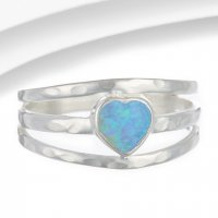 Banyan - Heart Shaped Opalite Set, Silver Triple Banded Ring, Size O