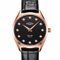 Rotary - Timepiece, Diamond Set, Stainless Steel - Rose Gold Plated - Leather Ultra Slim Diamond Watch