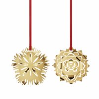 Georg Jensen - Brass Ice Dianthus & Ice Rosette Christmas Decoration