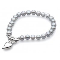 Kit Heath - Desire Lustrous Heart, Silver Freshwater 6mm Pearl Set, T-Bar Bracelet