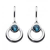 Kit Heath - Blue Topaz Set, Silver St Society Gemme Drop Earrings