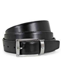 Mont Blanc - 3 Ring Reversible, Leather - Stainless Steel - Cut to Size Belt, Size 1200.35.5mm