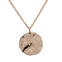 "Unique - Sagittarius Star Sign, Cubic Zirconia Set, Rose Gold Plated, 18"" Sterling Silver Chain and Pendant"