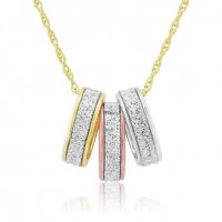 Mark Milton - 9Ct Rose, White and Yellow Gold Cubic Zirconia Pendant , Size 46cm
