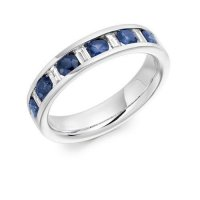 Round & Baguette Cut Blue Sapphire and Diamond Half Eternity Ring