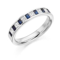 Princess & Baguette Cut Blue Sapphire and Diamond Half Eternity Ring
