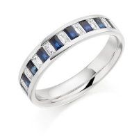 The Raphael Collection - Half Eternity Ring, Blue Sapphire and Diamond