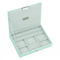 Stackers - Duck Egg Blue / Grey Polka Dot, Classic Lidded Jewellery Box