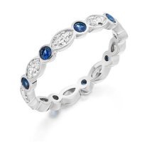 Marquise & Round Cut Blue Sapphire & Diamond Full Eternity Ring