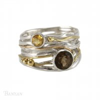 Banyan - Smokey Quartz and Citrine Set, Sterling Silver, Gold Filled Detail Ring, Size Q