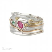 Banyan - Ruby and Emerald Set, Sterling Silver Organic Ring, Size M