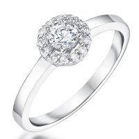 Jools - Cubic Zirconia Set, Silver Halo Ring, Size P
