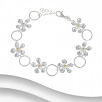 Banyan - Sterling Silver and Yellow Gold Plate Flower Bracelet