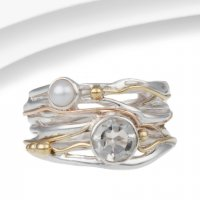 Banyan - Green Amethyst, Pearl Set, Sterling Silver With Gold And Brass Ring, Size O