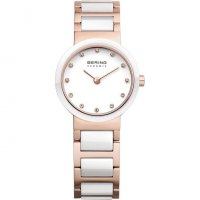 Bering - Ceramic, Swarovski Crystal Set, Rose Gold, Stainless Steel Watch