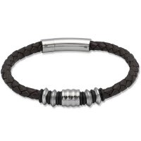 Unique - Brown Leather and Stainless Steel Bracelet, Size 21cm
