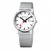 Mondaine - Gents, Stainless Steel with Mesh Bracelet Date Watch