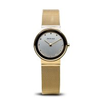 Bering - Ladies Classic, Swarovski Crystal Set, Stainless Steel and Yellow Gold Plated Ultra Slim Watch