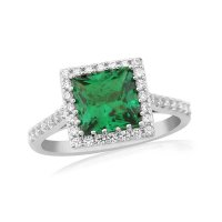 Waterford - Created Emerald Set, Silver Halo Ring, Size Small & Large
