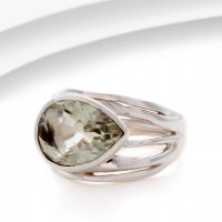 Banyan - Green Amethyst Set, Sterling Silver Banded Ring, Size P