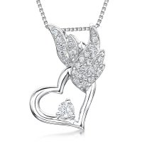 Jools - Cubic Zirconia Set, Silver Winged Heart Necklace
