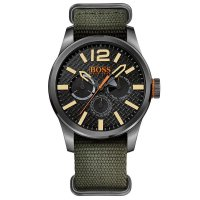 Hugo Boss - Boss Orange, Paris, Grey Stainless Steel Case and Green Fabric Strap Watch