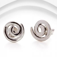 Banyan - Silver Spiral Stud Earrings