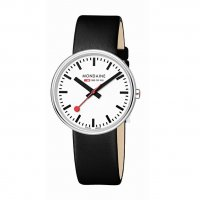 Mondaine - Mini Giant, Stainless Steel and Black Leather Watch