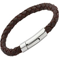 Unique - Dark Brown Leather and Stainless Steel Bracelet, Size 21cm