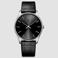 Calvin Klein - Men's Classic, Leather Strap with Stainless Steel Black Dial Watch