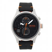 Hugo Boss - Orange, Amsterdam, Stainless Steel and Black Leather Chronograph Watch
