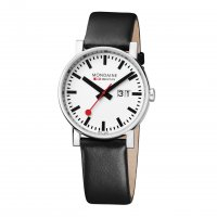 Mondaine - Gents, Stainless Steel and Black Leather Big Date Watch