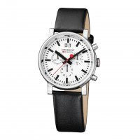 Mondaine - Gents, Stainless Steel and Black Leather Chronograph Watch