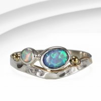 Banyan - Opalite Set, Sterling Silver Gold Wire Detail Ring, Size N