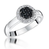 Jools - Black and White Cubic Zirconia Set, Silver Halo Ring, Size Q