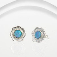 Banyan - Opalite Set, Textured Silver Stud Earrings