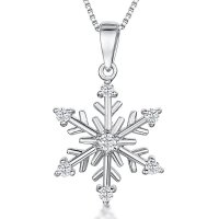 Jools - Cubic Zirconia Set, Silver Large Snowflake Necklace
