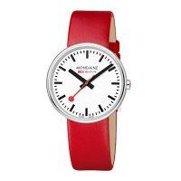 Mondaine - Mini Giant, Stainless Steel with Red Leather Strap Watch