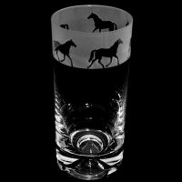 Animo Glass - Trotting Horse, Etched Frosted Glass High Ball