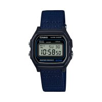 Casio - Classic Retro, Black Resin Case, Blue Fabric Strap Digital Chronograph Watch