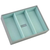 Stackers - Dove Grey Classic, Mint Lined, Deep 3 Section Stacker Jewellery Box