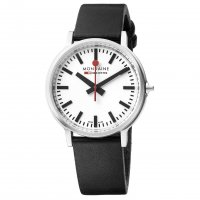 Mondaine - Stop To Go, Stainless Steel With Leather Mens Watch, Size 41mm